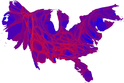 Purple Election Map by Population